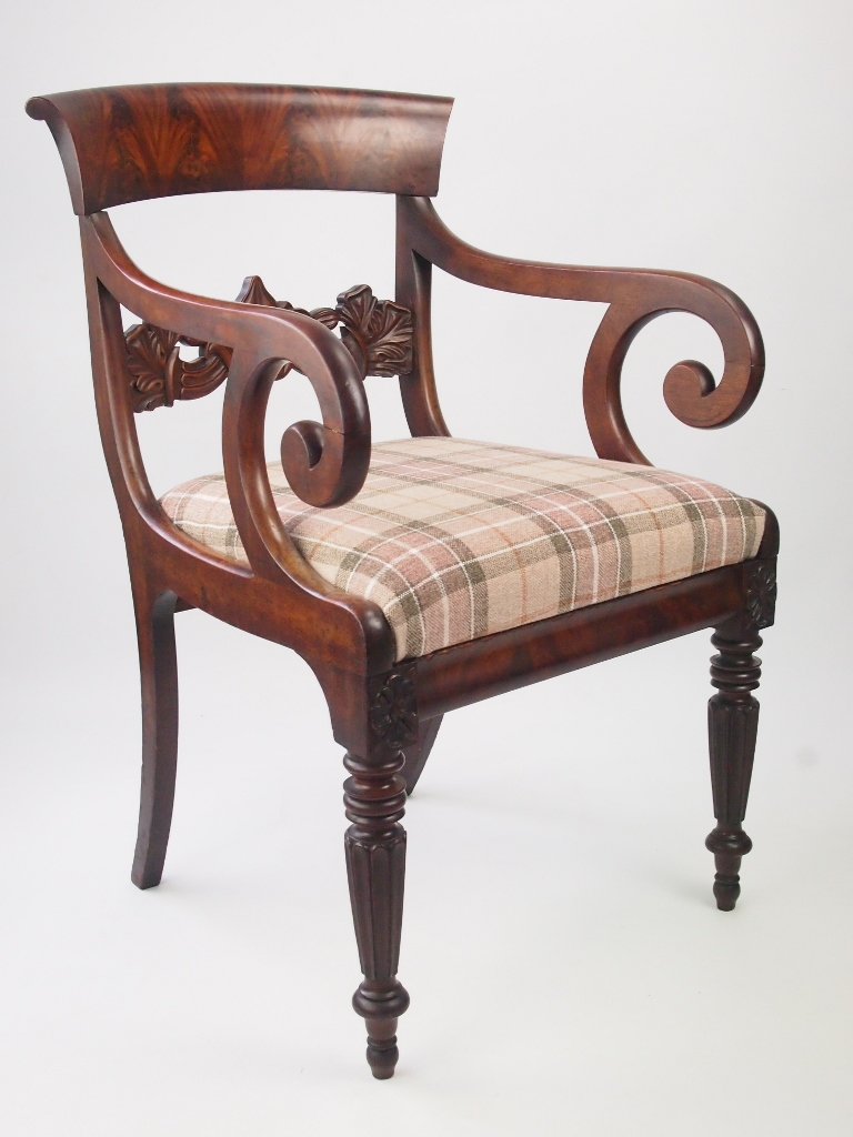 Antique William Iv Mahogany Armchair Circa 1830 Antique Desk Chair
