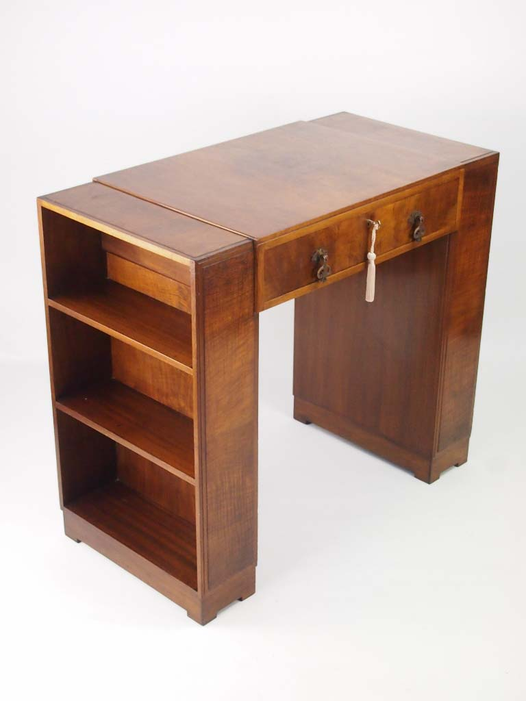 small art deco walnut desk with bookcase sides. Black Bedroom Furniture Sets. Home Design Ideas