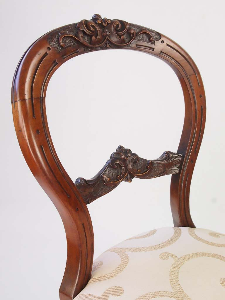 ... Victorian Balloon Back Chairs ... - Set 4 Antique Victorian Walnut Balloon Back Chairs - -