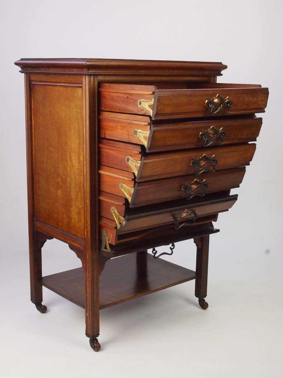 Small Antique Edwardian Mahogany Music Cabinet For Sale