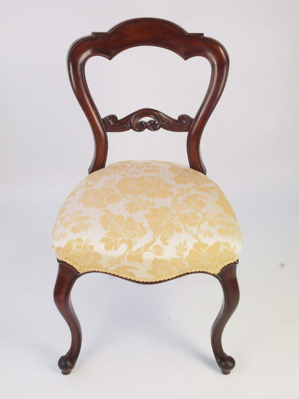 Pair Antique Victorian Mahogany Balloon Back Chairs For Sale