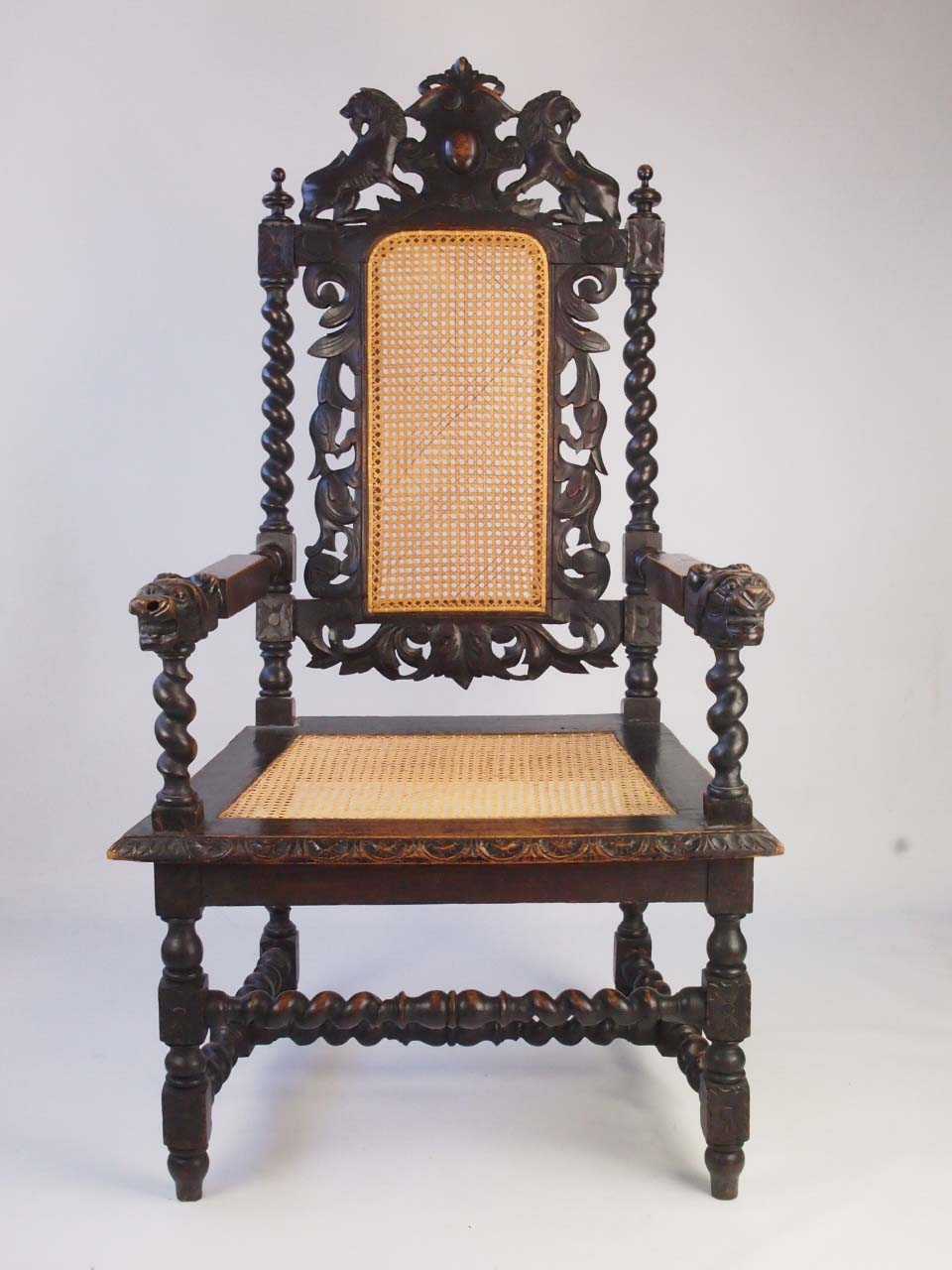 Large Antique Victorian Gothic Revival Throne Chair