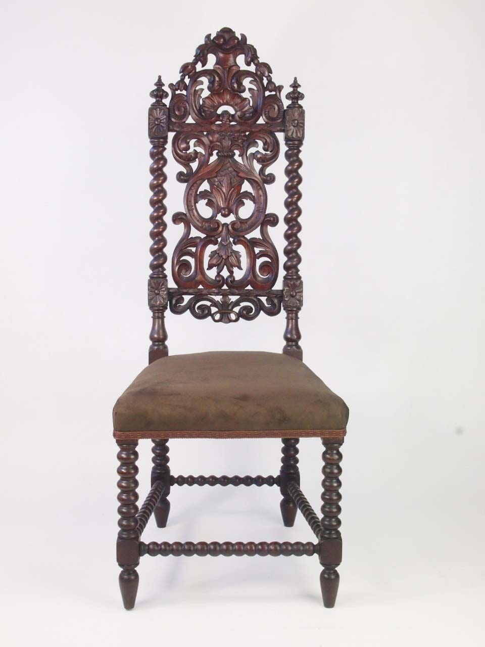Tall Pair Antique Victorian Gothic Oak Chairs For Sale