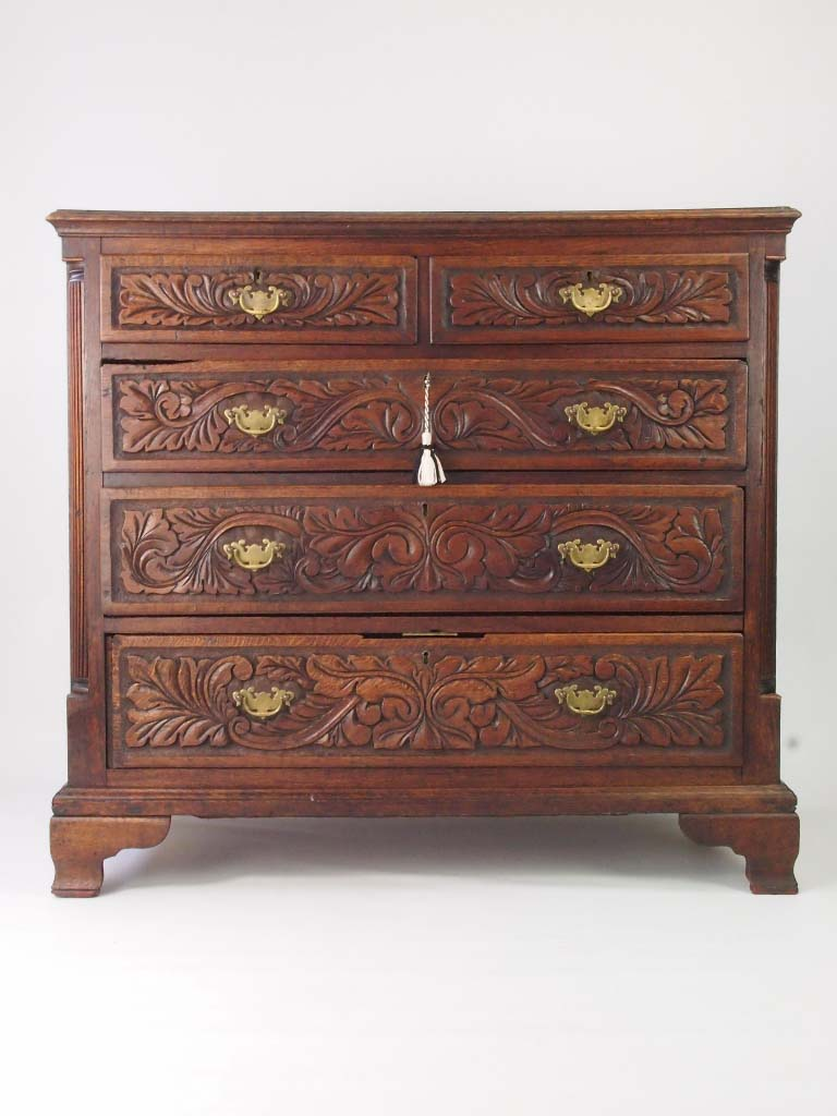 Antique Georgian Oak Amp Later Carved Chest Of Drawers For