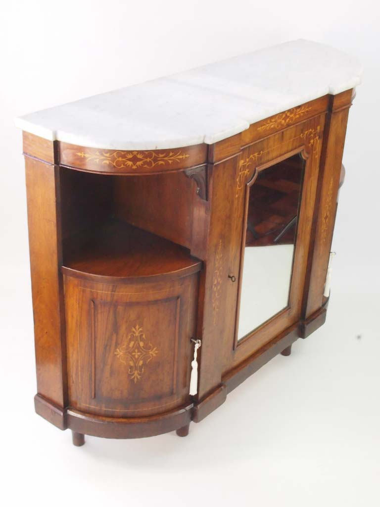Small Antique Victorian Burr Walnut Credenza Sideboard For
