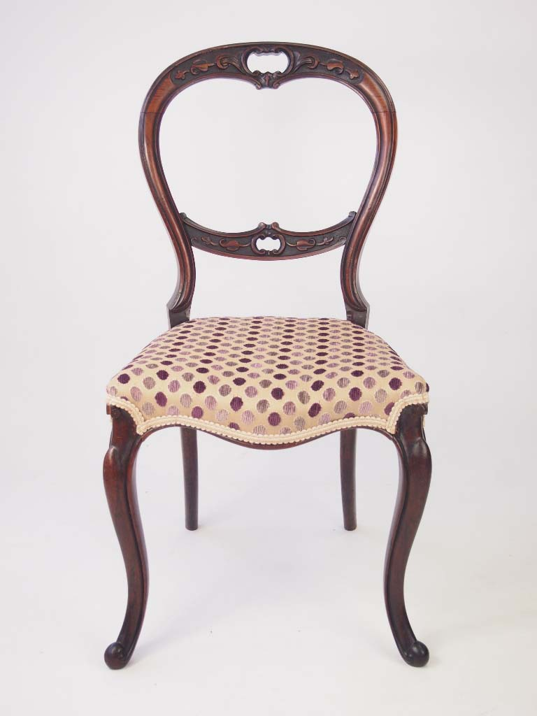 Antique Victorian Rosewood Balloon Back Chair For Sale