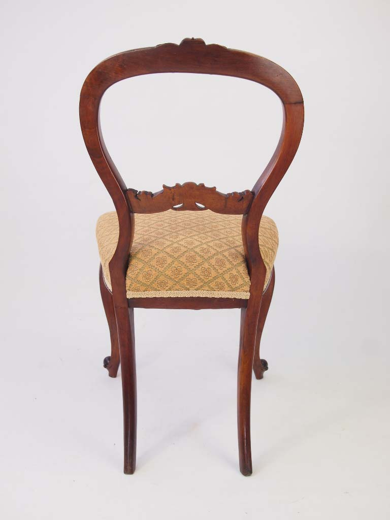 Pair Antique Victorian Walnut Balloon Back Chairs For Sale