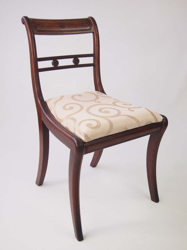 Set of six antique regency mahogany dining chairs for sale