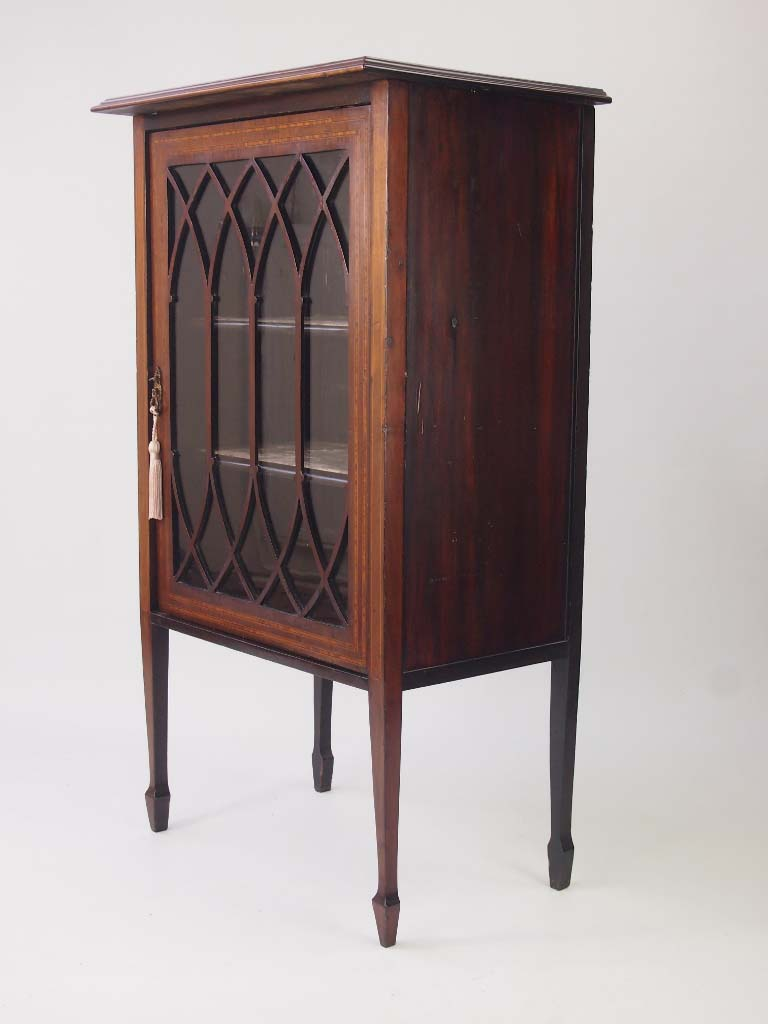 Small Antique Edwardian Cabinet Bookcase For Sale
