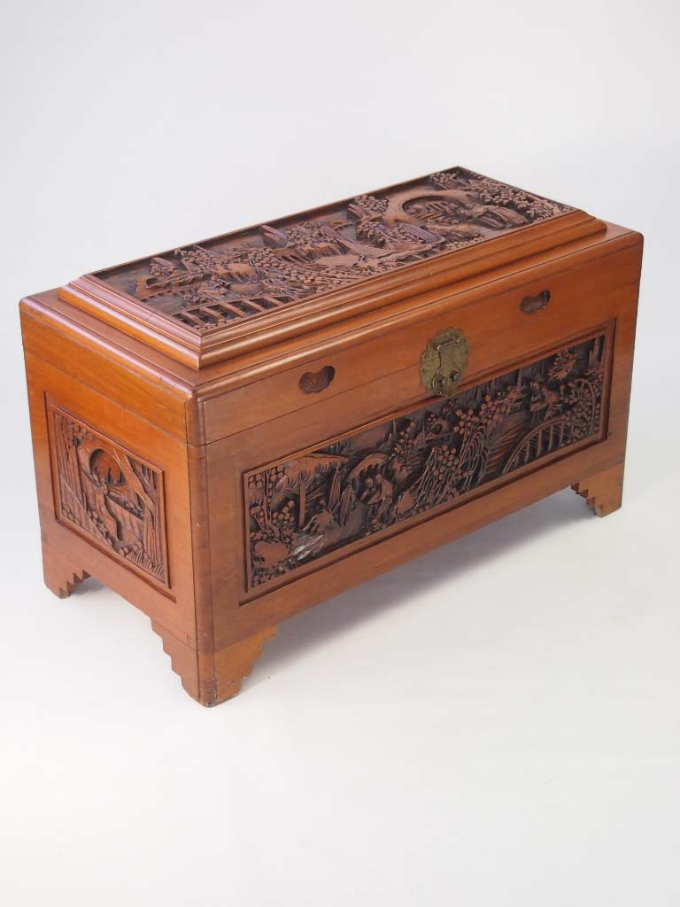Vintage carved asian camphor wood chest for sale