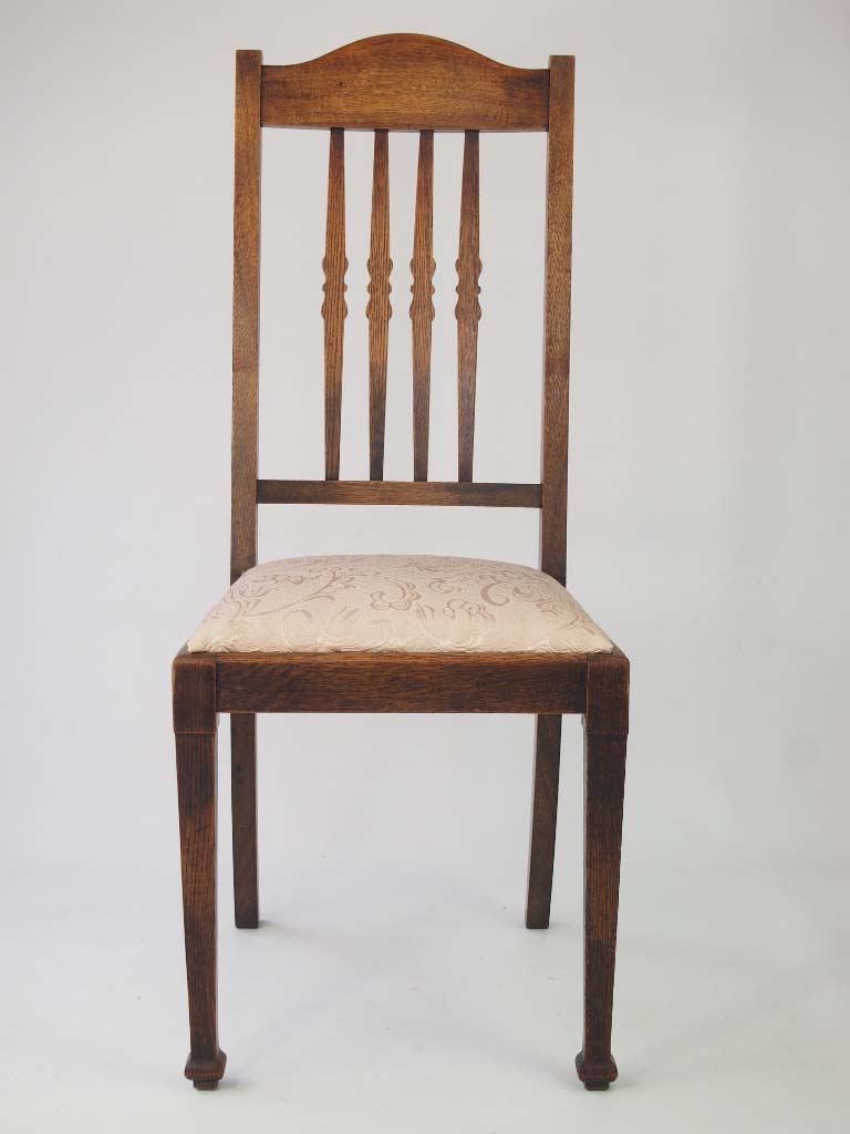 Harlequin set 6 vintage oak dining chairs for Oak dining chairs