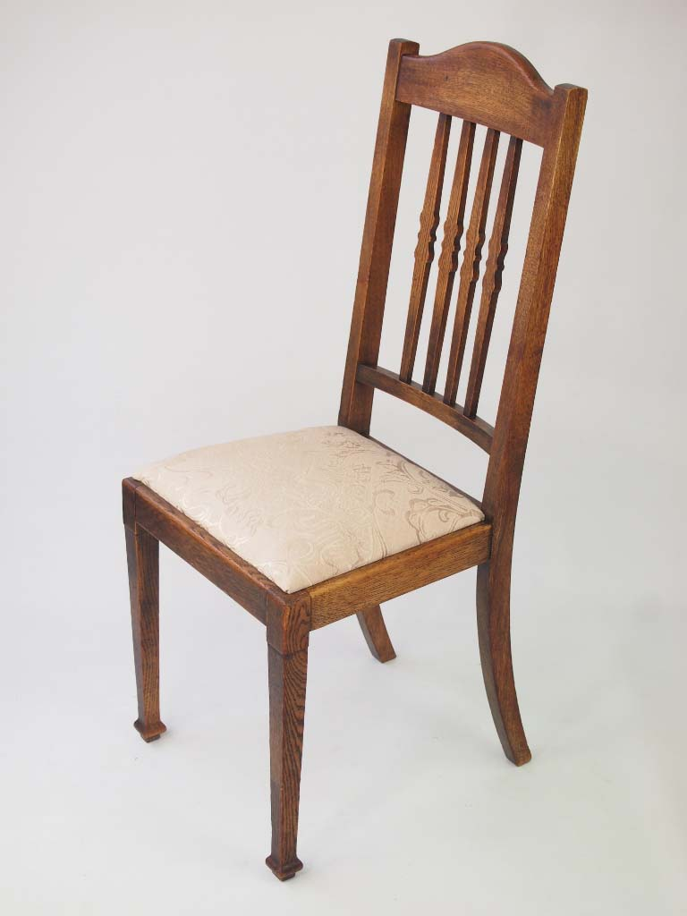 Harlequin set vintage oak dining chairs