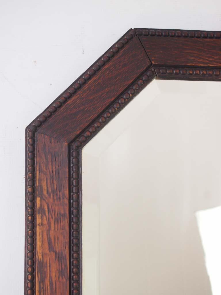 Large Art Deco Oak Framed Mirror For Sale