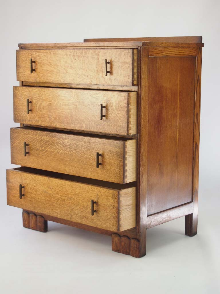 small art deco oak chest of drawers dated 1934. Black Bedroom Furniture Sets. Home Design Ideas
