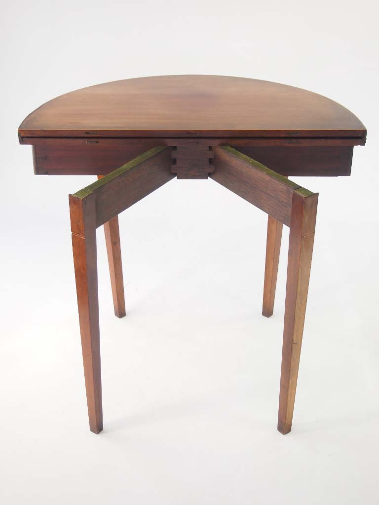 19th centruy mahogany fold over demi lune table - Table cuisine demi lune ...