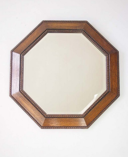 Hexagonal Oak Wall Mirror Circa 1920s