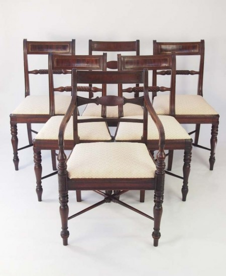 Set Six Harlequin Regency Dining Chairs