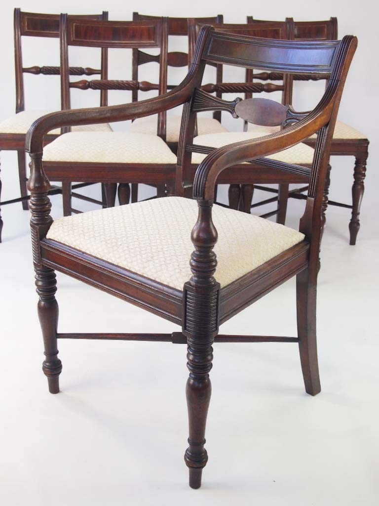 Harlequin Set of 6 Antique Regency Dining Chairs For Sale