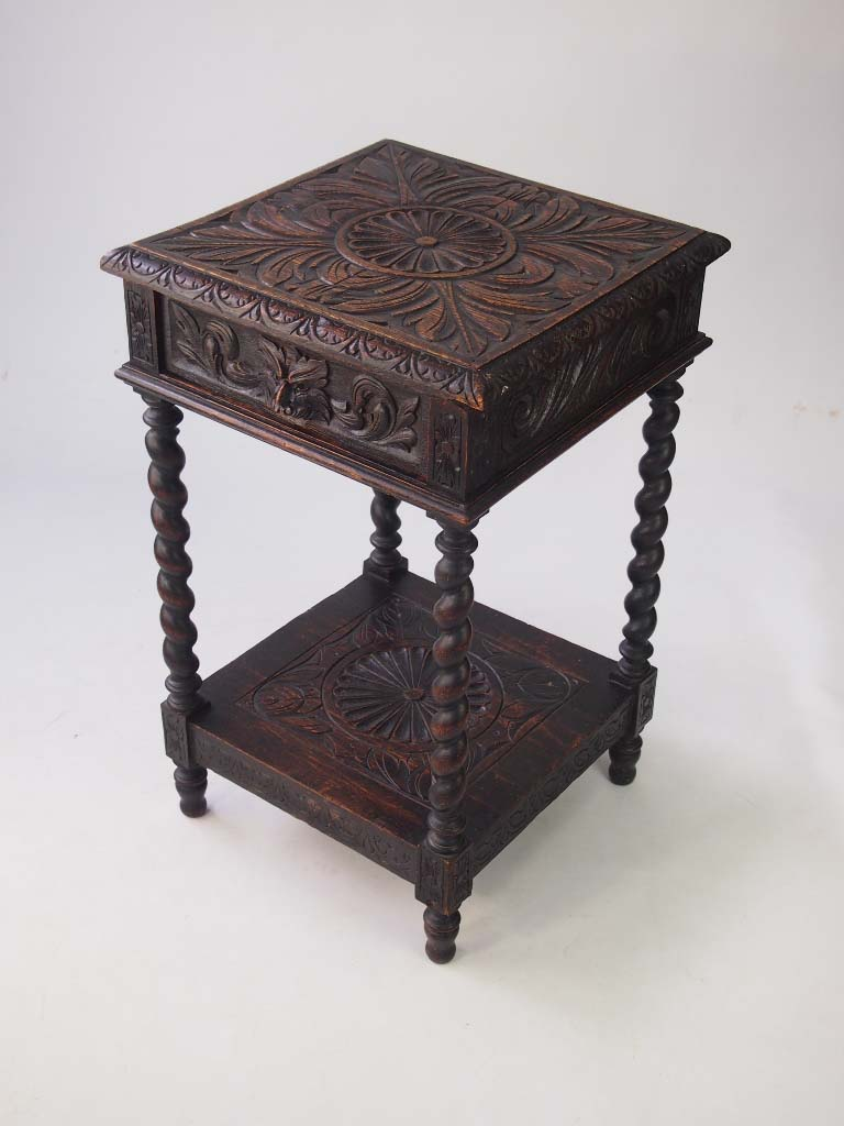 Small victorian gothic revival oak side table for Antique furniture