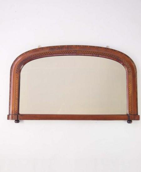 Antique Victorian Walnut Marquetry Overmantle Mirror
