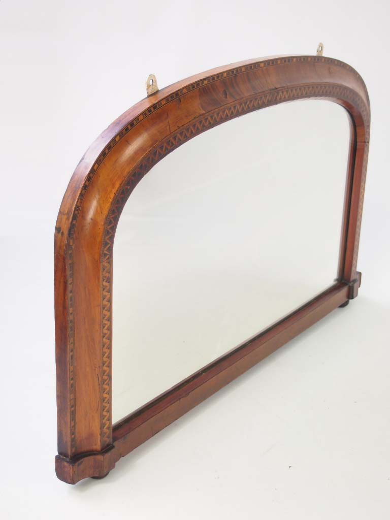 Small victorian walnut marquetry overmantle mirror for Victorian mirror