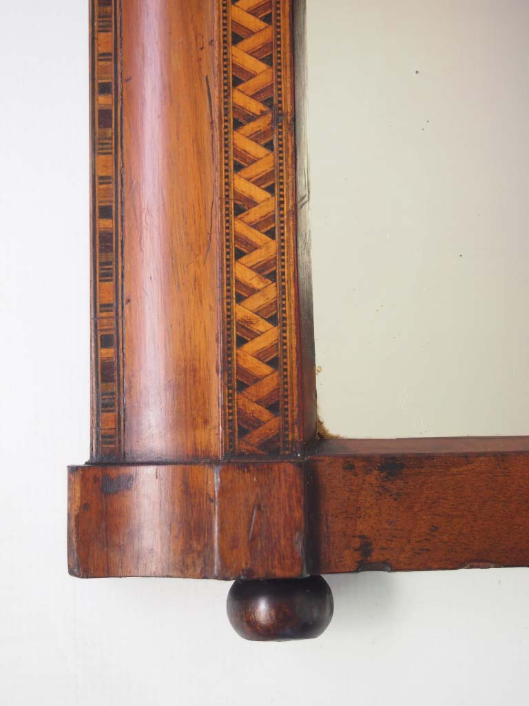Small Victorian Walnut Amp Marquetry Overmantle Mirror