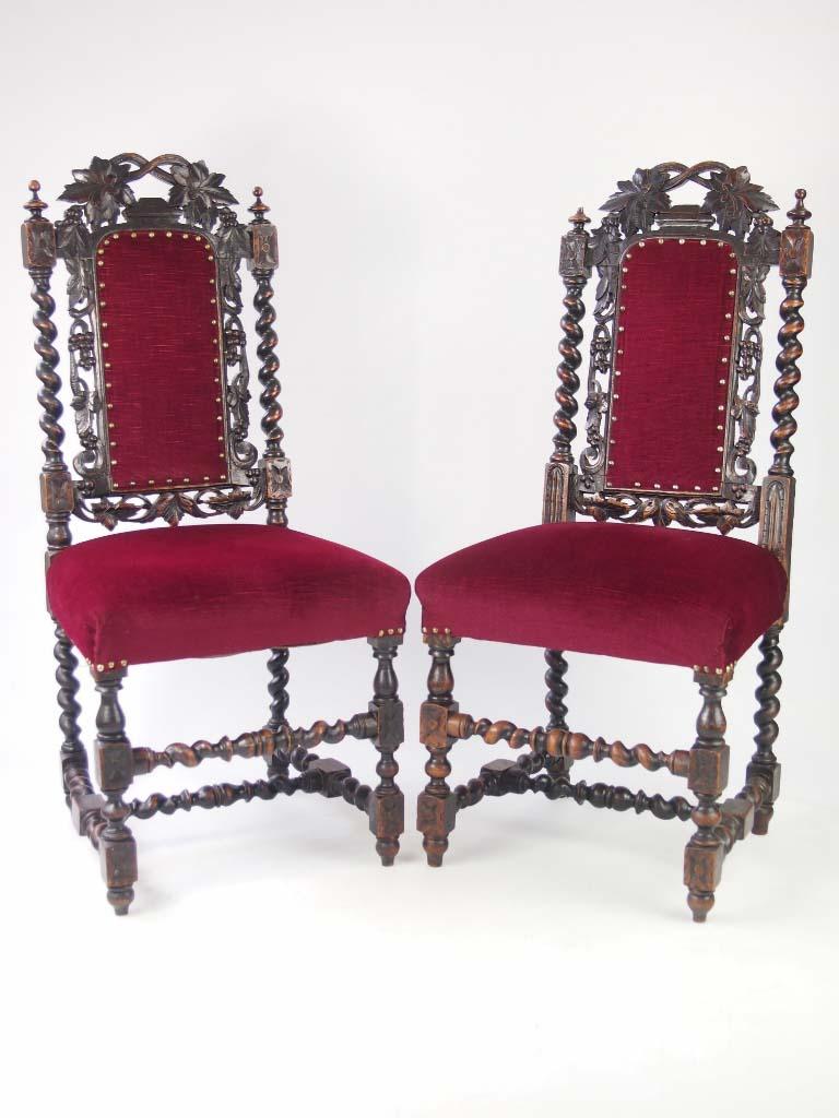Antique Oak Chairs ~ Pair antique victorian gothic oak chairs