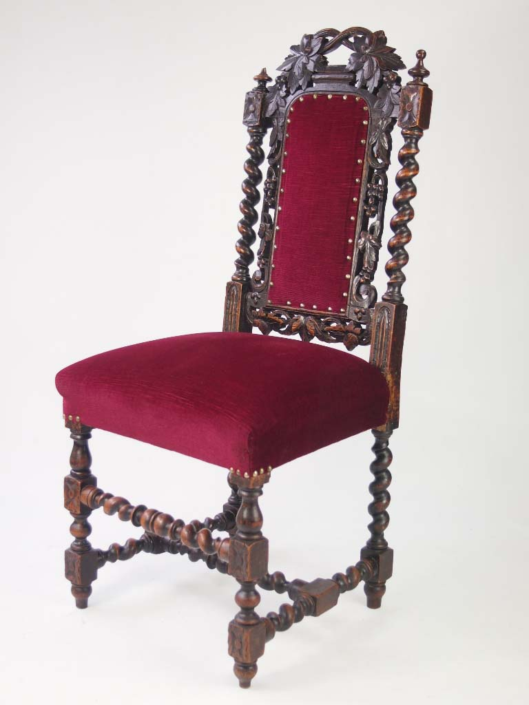 Gothic furniture chair -  Pair Antique Victorian Gothic Oak Hall Chairs