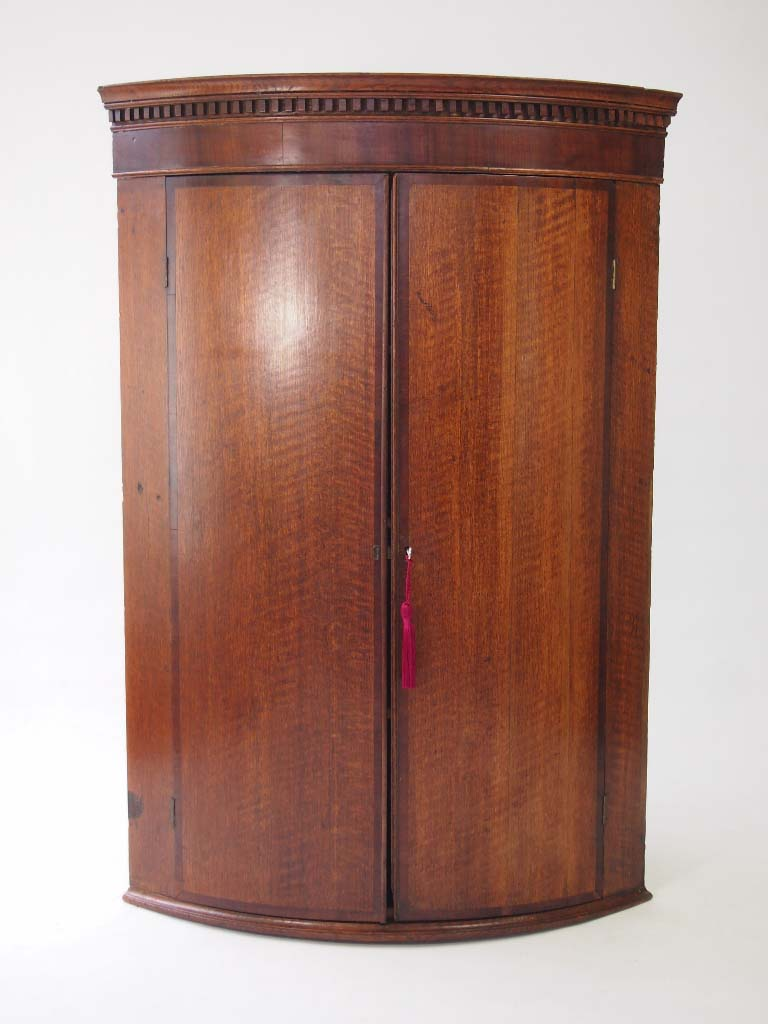 Antique Georgian Oak Bow Front Corner Cabinet