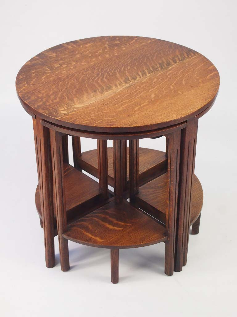 Vintage nest of oak tables