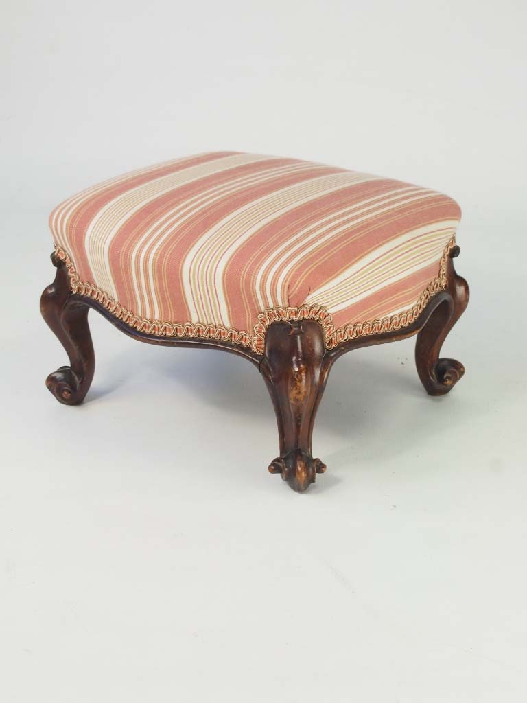 Antique Bed Stool: Antique Victorian Walnut Footstool