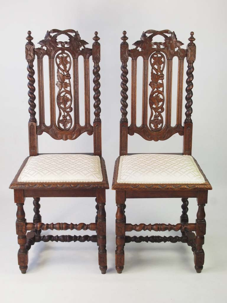 Pair antique victorian gothic revival oak chairs for Victorian gothic chair