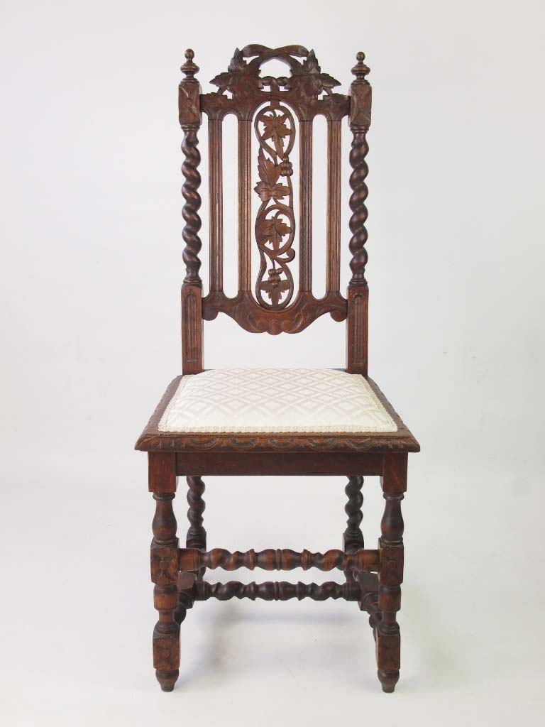 Antique Oak Chairs ~ Pair antique victorian gothic revival oak chairs