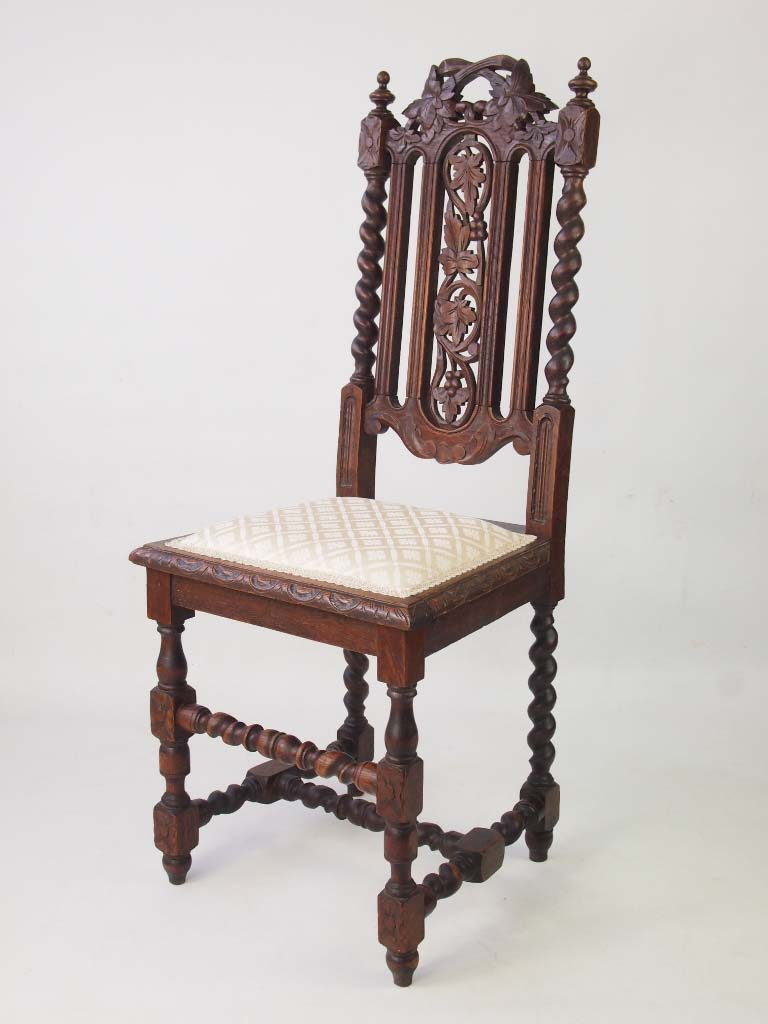 Antique victorian gothic revival oak chair for Victorian gothic chair