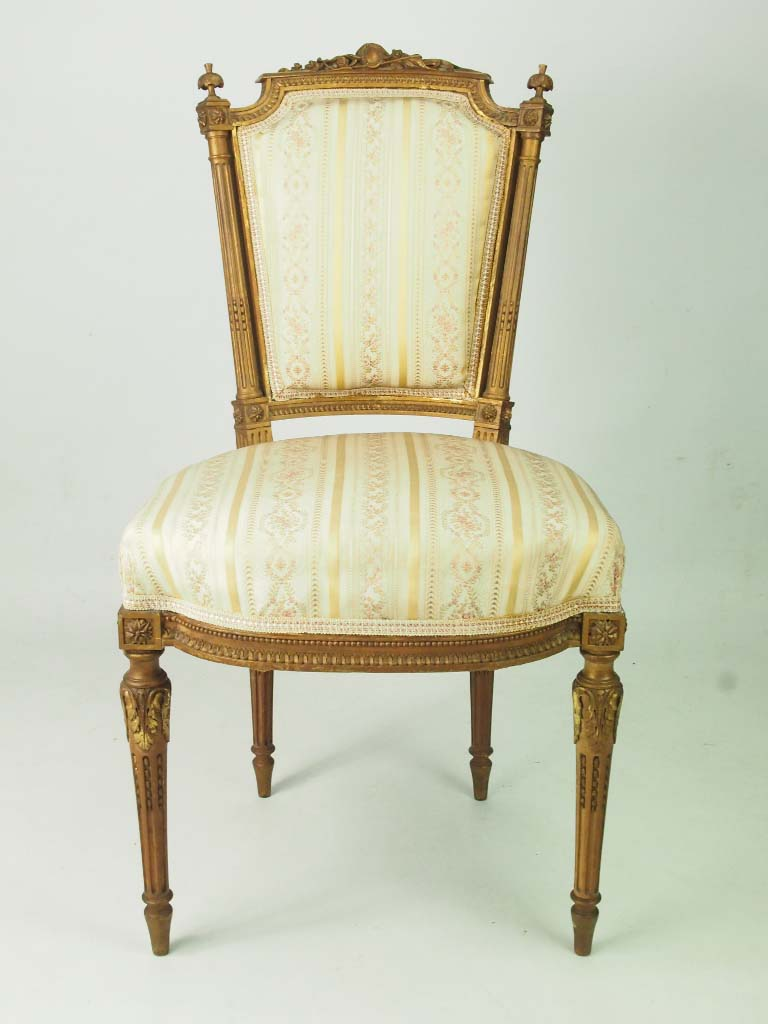 Pair Of Antique Giltwood French Side Chairs In Louis Xvi