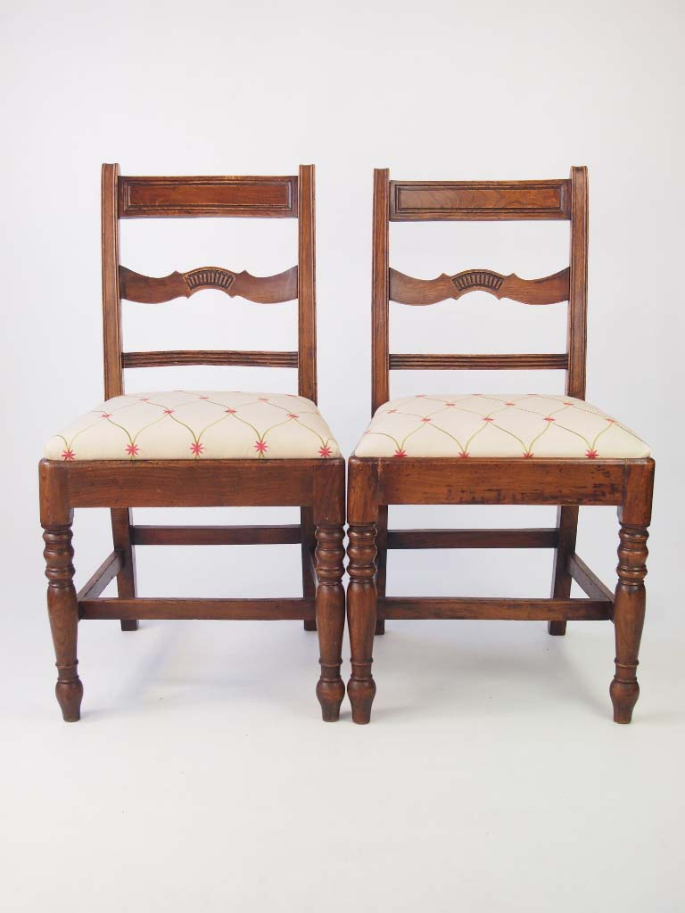 Pair antique georgian elm side chairs for Furniture direct