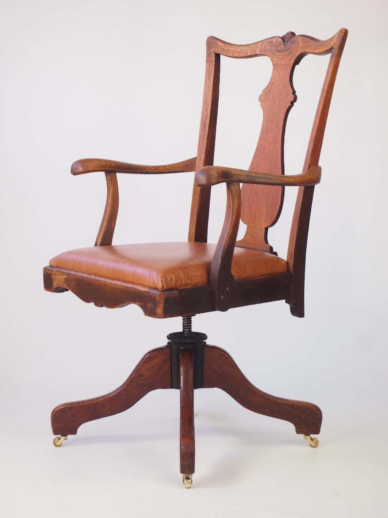 Oak Office Chair ~ Oak and leather swivel desk chair by j s ford johnson