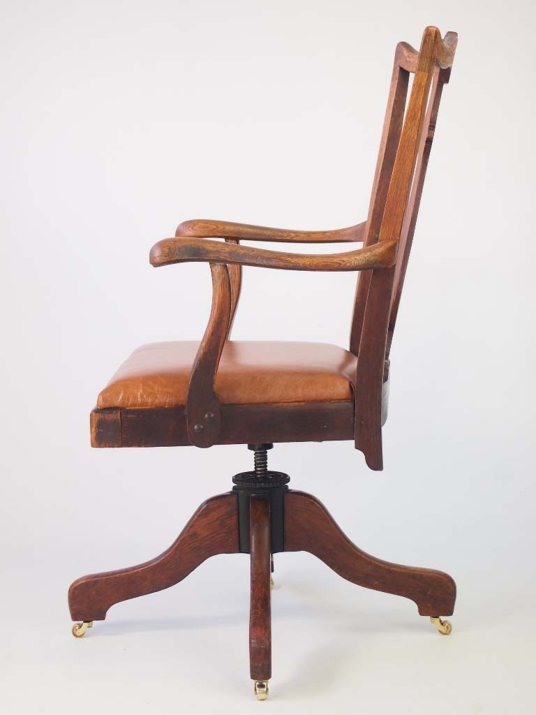 Oak And Leather Swivel Desk Chair By J S Ford Johnson Chicago