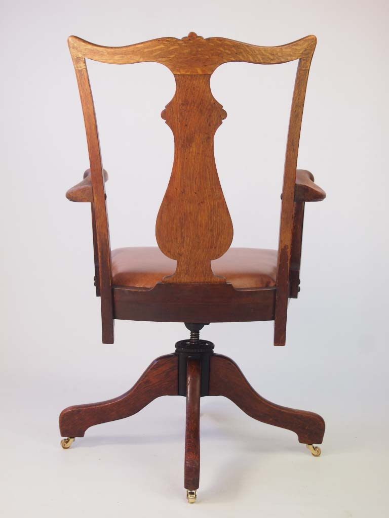 Oak And Leather Swivel Desk Chair By J.S Ford Johnson