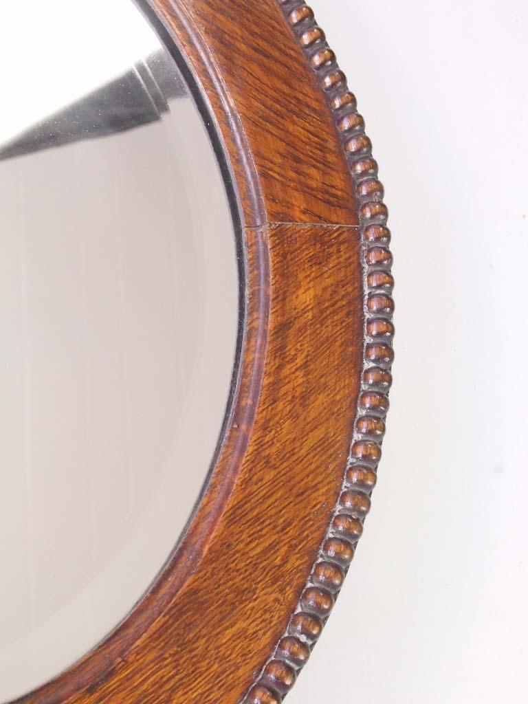 Vintage Oak Oval Framed Mirror