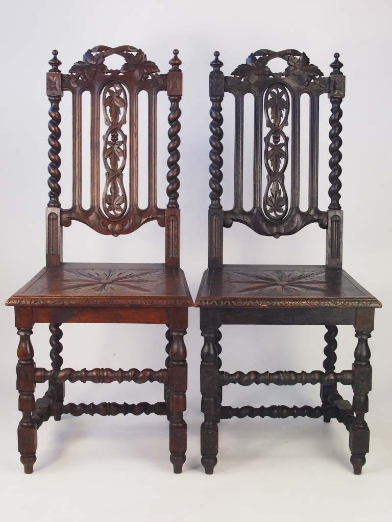 pair antique victorian gothic oak hall chairs side desk dining kitchen chairs ebay. Black Bedroom Furniture Sets. Home Design Ideas