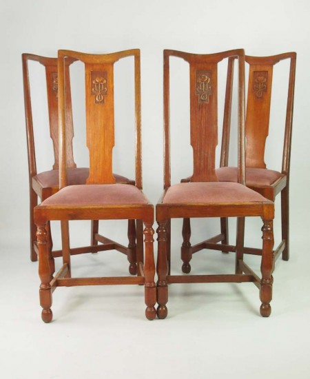 Set 4 Oak High Back Dining Chairs
