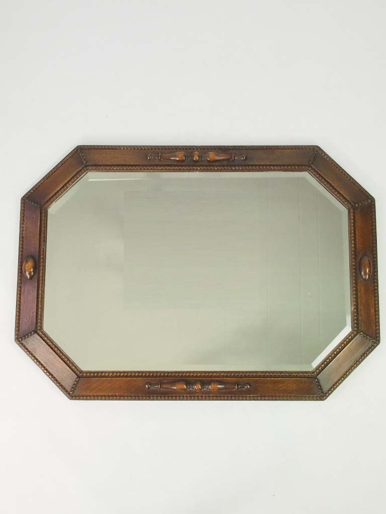 Large vintage oak framed mirror overmantle for Large framed mirrors