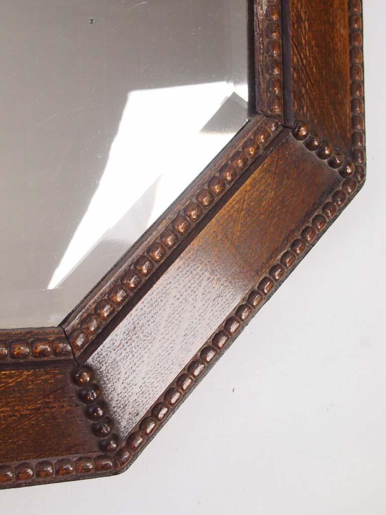 Large Vintage Oak Framed Mirror Overmantle