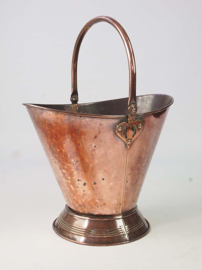 Antique Copper Log Bin Coal Bucket