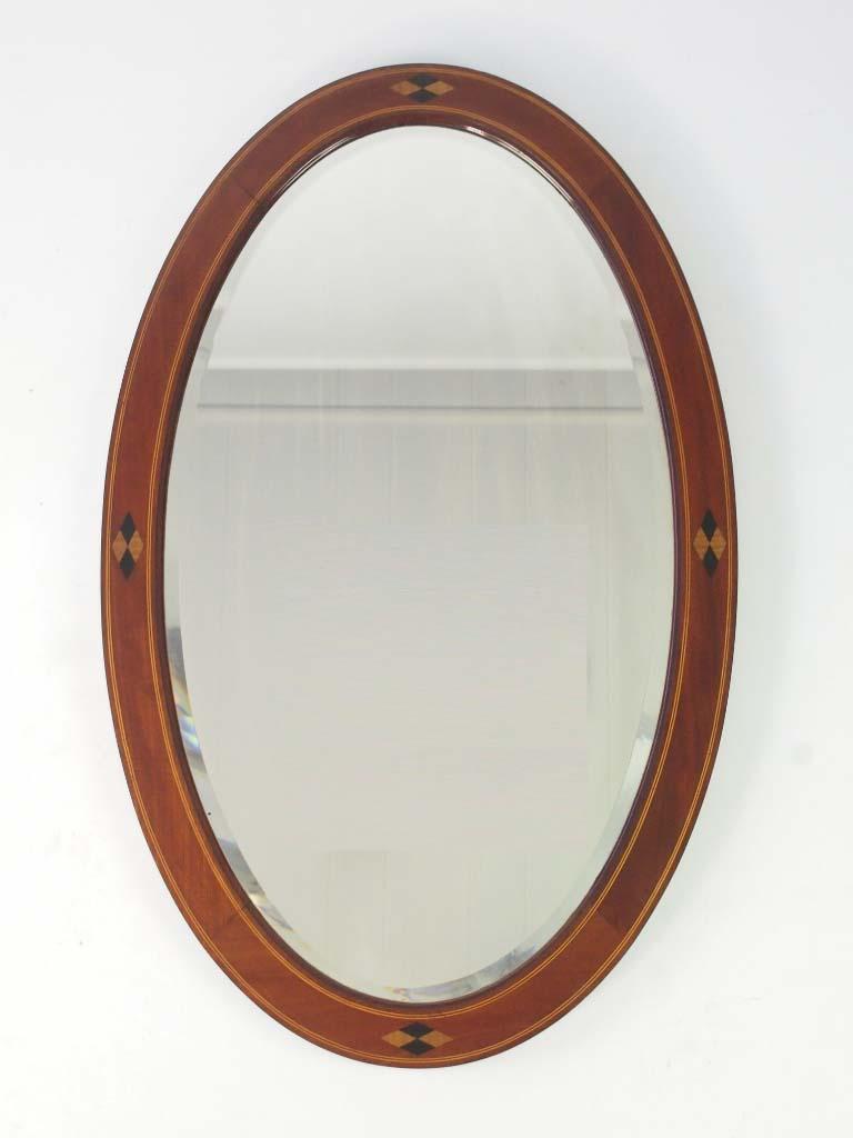 Antique Edwardian Oval Mahogany Framed Mirror