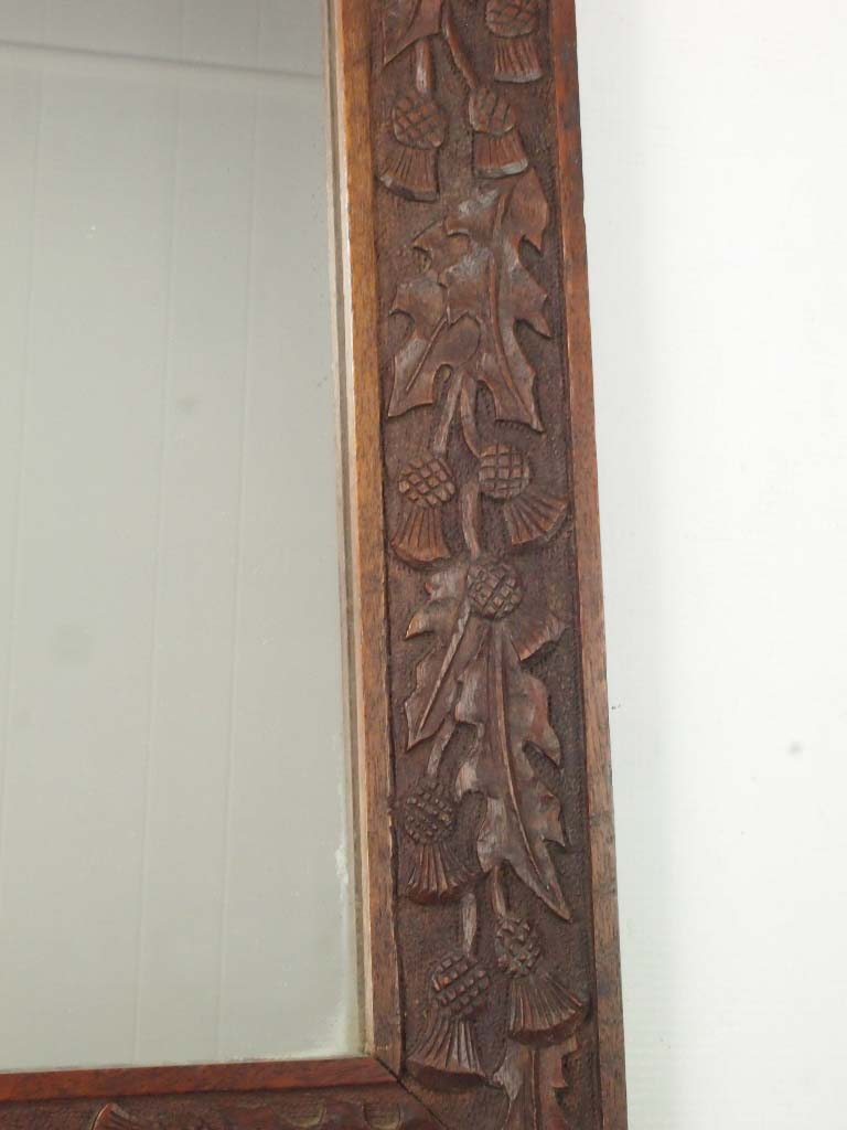 Thistle Carved Oak Wall Mirror