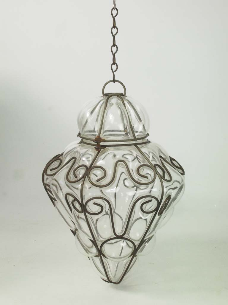 Wire Framed Glass Hanging Lamp