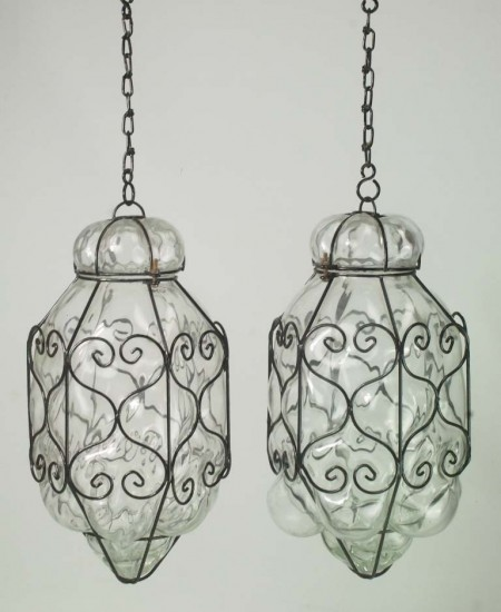 Pair Wire Framed Glass Hanging Lamps