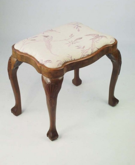 Antique Shell Carved Walnut Stool